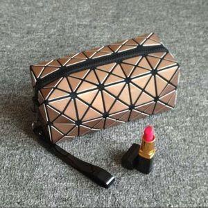 Gold Rectangular Geometric Makeup 💄 Pouch